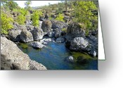 Swimming Hole Greeting Cards - Giant Basalt Boulders Swimming Hole Greeting Card by Frank Wilson