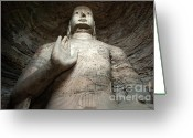 Archaeology Archeological Greeting Cards - Giant Buddha statue in China Greeting Card by Sami Sarkis