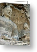 Buddha Art Greeting Cards - Giant Buddha statues in Yungang Shiku caves Greeting Card by Sami Sarkis