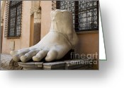 Emperor Greeting Cards - Giant Foot from Emperor Constantine Statue. Capitoline Museum. R Greeting Card by Bernard Jaubert