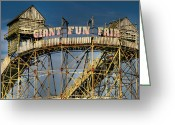 Old Sign Greeting Cards - Giant Fun Fair Greeting Card by Adrian Evans