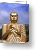 Face Greeting Cards - Giant gold Bhudda Greeting Card by Jane Rix