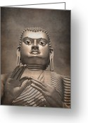 Face Greeting Cards - Giant Gold Buddha vintage Greeting Card by Jane Rix