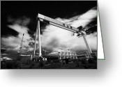 Construction Yard Greeting Cards - Giant Harland And Wolff Cranes Goliath Amd Samson With Wind Turbine Blades At Shipyard Titanic Greeting Card by Joe Fox