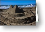 Shadow Shapes Greeting Cards - Giant sand castle Greeting Card by Garry Gay