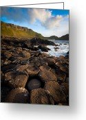 Hexagons Greeting Cards - Giants Causeway Circle of Stones Greeting Card by Inge Johnsson
