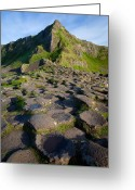 Hexagons Greeting Cards - Giants Causeway Green Peak Greeting Card by Inge Johnsson