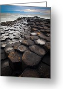 Hexagons Greeting Cards - Giants Causeway Hexagons Greeting Card by Inge Johnsson