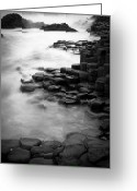 Hexagons Greeting Cards - Giants Causeway Waves  Greeting Card by Inge Johnsson