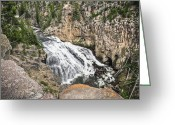 Reno Gregory Greeting Cards - Gibbon Falls Greeting Card by Reno Gregory