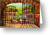 Montreal Summer Scenes Greeting Cards - Gibbys Restaurant In Old Montreal Greeting Card by Carole Spandau