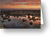 Sundown Greeting Cards - Gibraltar and Africa and Spain in one shot from Marbella Greeting Card by Guido Montanes Castillo