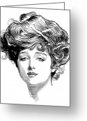 Hair Bun Greeting Cards - Gibson: Gibson Girl, 1900 Greeting Card by Granger