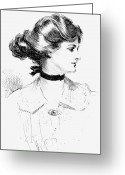 Hair Bun Greeting Cards - Gibson: Gibson Girl, 1905 Greeting Card by Granger
