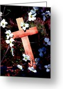 Photographic Art Greeting Cards - Gift Cross and Dogwood Greeting Card by John Foote