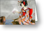 Maiko Greeting Cards - Gift to the Great Koi Greeting Card by Rachel Walker