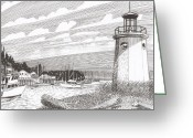 Framed Prints Drawings Greeting Cards - Gig Harbor Light Greeting Card by Jack Pumphrey