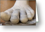 Outdoor Greeting Cards - Gigantic foot from the statue of Constantine. Rome. Italy. Greeting Card by Bernard Jaubert