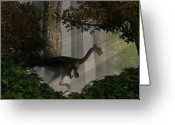 Theropod Greeting Cards - Gigantoraptor Greeting Card by Daniel Eskridge