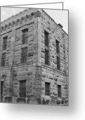 County Jail Greeting Cards - Gillespie County Texas Jail of 1885 - 1939 bw Greeting Card by Elizabeth  Sullivan