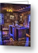 Acting Greeting Cards - Gillette Castle Office HDR Greeting Card by Susan Candelario