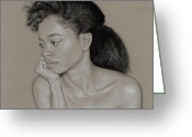 Grey Drawings Greeting Cards - Gillian 1 Greeting Card by David Kleinsasser