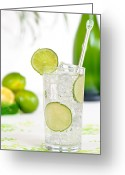 Lime Photo Greeting Cards - Gin And Tonic Drink Greeting Card by Christopher Elwell and Amanda Haselock