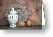 Wicker Greeting Cards - Ginger Jar with Pears I Greeting Card by Tom Mc Nemar