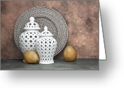 Wicker Greeting Cards - Ginger Jar with Pears II Greeting Card by Tom Mc Nemar