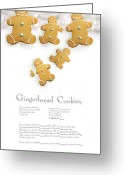 Confections Greeting Cards - Gingerbread men cookies against cookie receipe Greeting Card by Sandra Cunningham