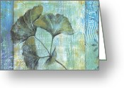 Leaf Painting Greeting Cards - Gingko Spa 2 Greeting Card by Debbie DeWitt