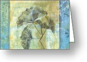 Leaf Painting Greeting Cards - Ginkgo Spa 1 Greeting Card by Debbie DeWitt