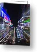 Hustle Bustle Greeting Cards - Ginza District in Tokyo Greeting Card by Rob Tilley
