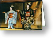 National Treasure Greeting Cards - Gion Apprentice Geisha - Kyoto Japan Greeting Card by Daniel Hagerman