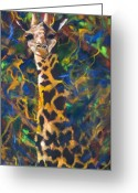 Contemporary Artist Greeting Cards - Giraffe Greeting Card by Kd Neeley