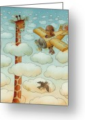 Pilot Greeting Cards - Giraffe Greeting Card by Kestutis Kasparavicius