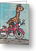Bike Riding Greeting Cards - Giraffe On A Motorcycle Greeting Card by Jera Sky