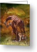 Animal Art Giclee Mixed Media Greeting Cards - Giraffe World Greeting Card by Carol Cavalaris