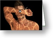 Thirty-something Greeting Cards - Giraffes Eye Greeting Card by Yosi Cupano