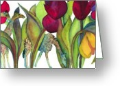Tulip Greeting Cards - Giraffes Greeting Card by Jan  Porterfield