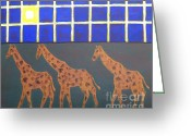Wildlife Greeting Cards Prints Painting Greeting Cards - Giraffes Greeting Card by Patrick J Murphy
