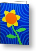 Chic Painting Greeting Cards - Girasol Greeting Card by Oliver Johnston
