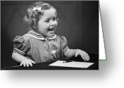 Hair Drawing Greeting Cards - Girl (4-5) Sitting At Table, Smiling, (b&w) Greeting Card by George Marks