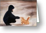 Outdoors Pastels Greeting Cards - Girl and a Cat Greeting Card by Anastasiya Malakhova