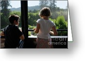 Contemplation Greeting Cards - Girl and boy looking out of train window Greeting Card by Sami Sarkis