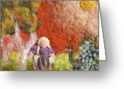 Girl Tapestries - Textiles Greeting Cards - Girl and Peacock Greeting Card by Nicole Besack
