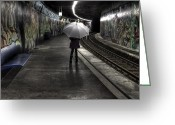 Wait Greeting Cards - Girl At Subway Station Greeting Card by Joana Kruse