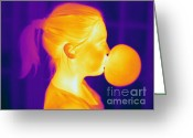 Human Being Photo Greeting Cards - Girl Blowing A Bubble Greeting Card by Ted Kinsman