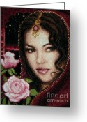 Girl Tapestries - Textiles Greeting Cards - Girl from Alhambra Greeting Card by Stoyanka Ivanova
