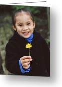Holding Flower Greeting Cards - Girl Holding A Flower Greeting Card by Ian Boddy